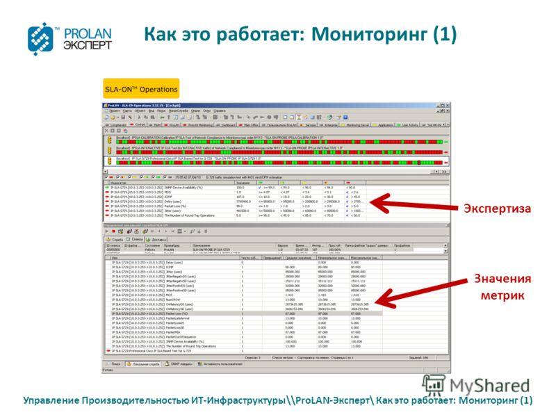 Управление Производительностью ИТ-Инфраструктуры\\ProLAN-Эксперт\ Как это работает: Мониторинг (1) Как это работает: Мониторинг (1) Экспертиза Значения метрик