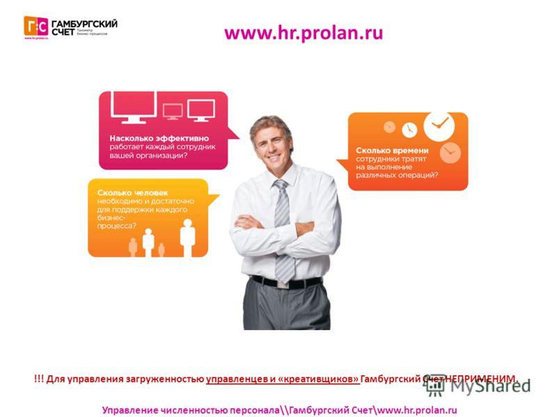 www.hr.prolan.ru Управление численностью персонала\\Гамбургский Счет\www.hr.prolan.ru !!! Для управления загруженностью управленцев и «креативщиков» Гамбургский Счет НЕПРИМЕНИМ.