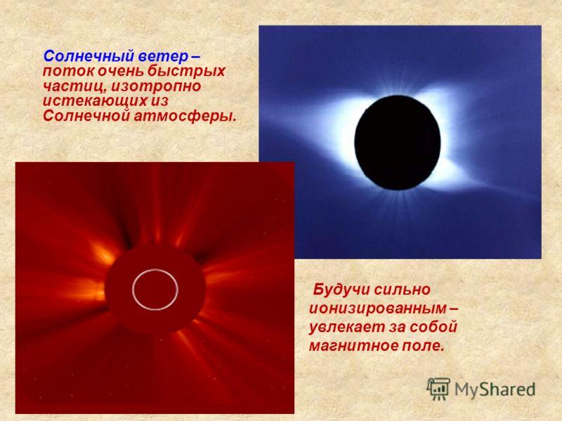 Солнечный ветер – поток очень быстрых частиц, изотропно истекающих из Солнечной атмосферы. Будучи сильно ионизированным – увлекает за собой магнитное поле.