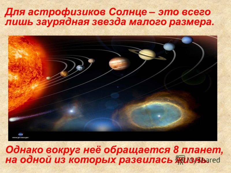 Для астрофизиков Солнце – это всего лишь заурядная звезда малого размера. Однако вокруг неё обращается 8 планет, на одной из которых развилась жизнь.