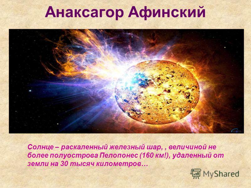 Анаксагор Афинский Солнце – раскаленный железный шар,, величиной не более полуострова Пелопонес (160 км!), удаленный от земли на 30 тысяч километров…