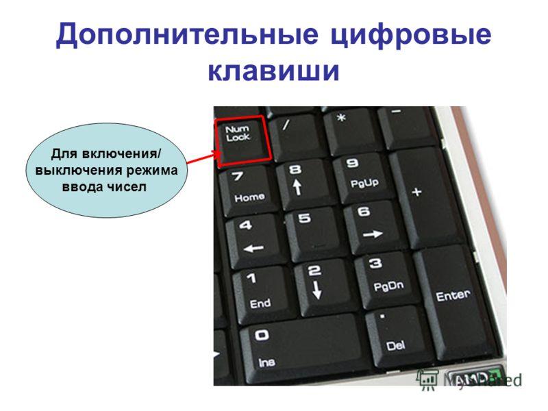Дополнительные цифровые клавиши Для включения/ выключения режима ввода чисел