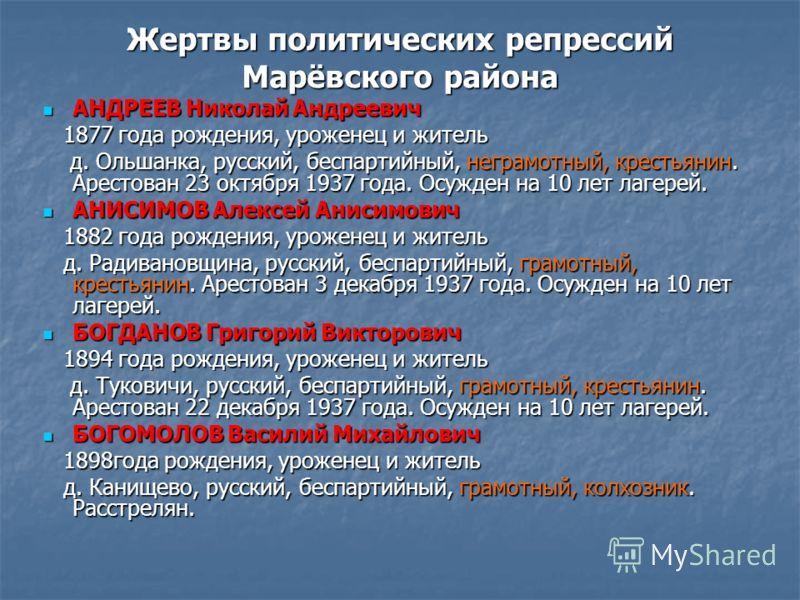 Жертвы политических репрессий Марёвского района АНДРЕЕВ Николай Андреевич АНДРЕЕВ Николай Андреевич 1877 года рождения, уроженец и житель 1877 года рождения, уроженец и житель д. Ольшанка, русский, беспартийный, неграмотный, крестьянин. Арестован 23