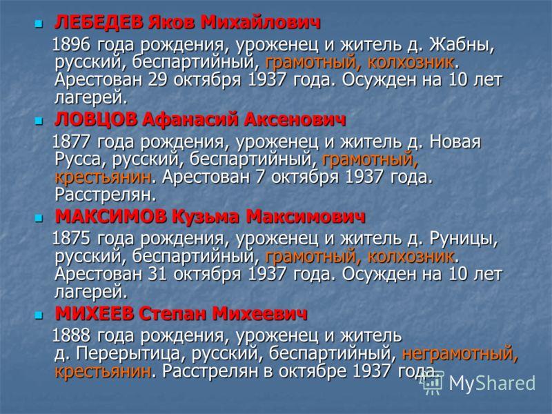 ЛЕБЕДЕВ Яков Михайлович ЛЕБЕДЕВ Яков Михайлович 1896 года рождения, уроженец и житель д. Жабны, русский, беспартийный, грамотный, колхозник. Арестован 29 октября 1937 года. Осужден на 10 лет лагерей. 1896 года рождения, уроженец и житель д. Жабны, ру