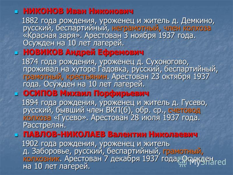 НИКОНОВ Иван Никонович НИКОНОВ Иван Никонович 1882 года рождения, уроженец и житель д. Демкино, русский, беспартийный, неграмотный, член колхоза «Красная заря». Арестован 3 ноября 1937 года. Осужден на 10 лет лагерей. 1882 года рождения, уроженец и ж