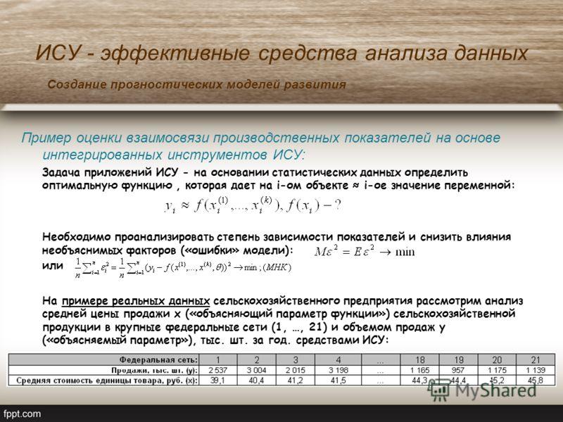 ИСУ - эффективные средства анализа данных Пример оценки взаимосвязи производственных показателей на основе интегрированных инструментов ИСУ: Задача приложений ИСУ - на основании статистических данных определить оптимальную функцию, которая дает на i-
