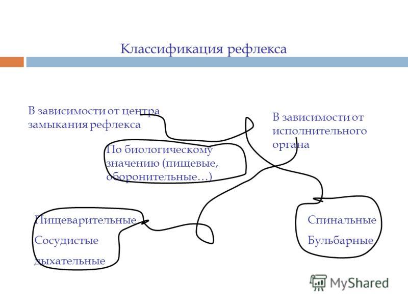 Классификация рефлекса В зависимости от центра замыкания рефлекса Спинальные Бульбарные По биологическому значению (пищевые, оборонительные…) В зависимости от исполнительного органа Пищеварительные Сосудистые дыхательные