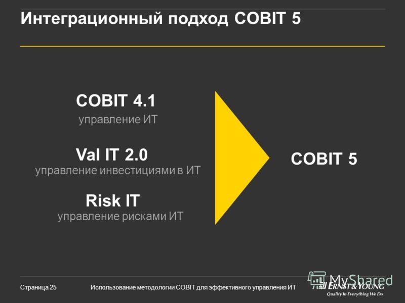 Использование методологии COBIT для эффективного управления ИТСтраница 25 Интеграционный подход COBIT 5 Risk IT Val IT 2.0 COBIT 4.1 COBIT 5 управление рисками ИТ управление инвестициями в ИТ управление ИТ