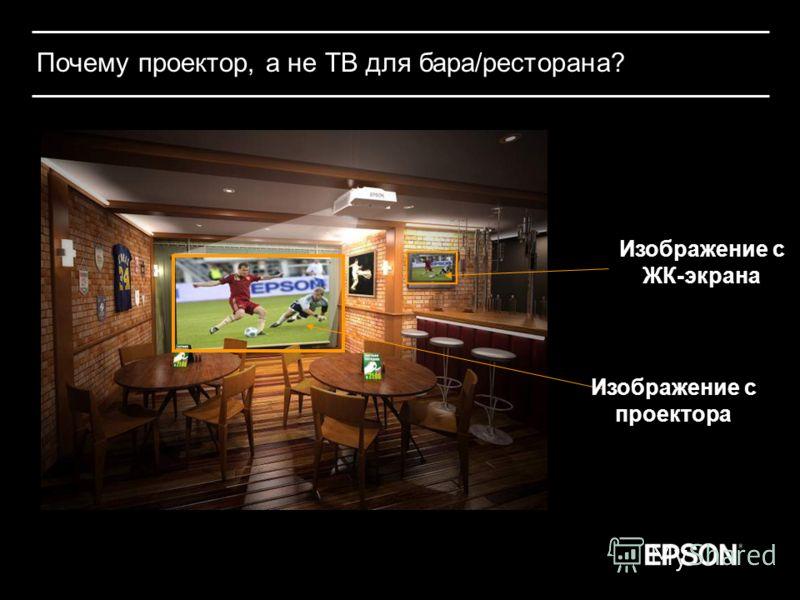 Почему проектор, а не ТВ для бара/ресторана? Изображение с проектора Изображение с ЖК-экрана