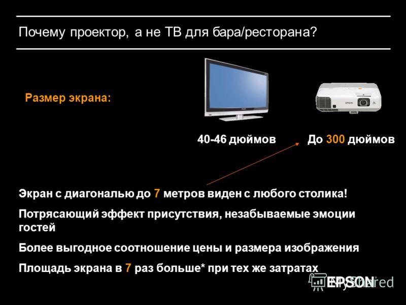 Почему проектор, а не ТВ для бара/ресторана? Размер экрана: 40-46 дюймовДо 300 дюймов Экран с диагональю до 7 метров виден с любого столика! Потрясающий эффект присутствия, незабываемые эмоции гостей Более выгодное соотношение цены и размера изображе