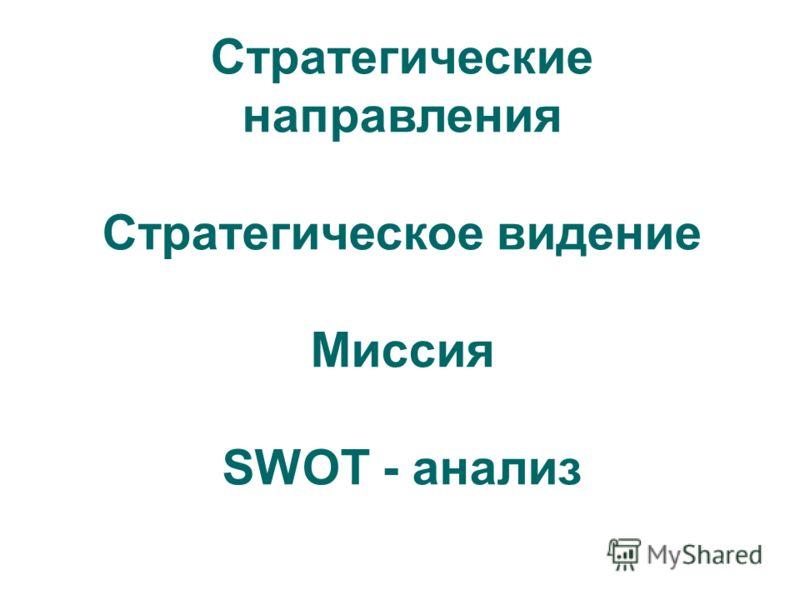Стратегические направления Стратегическое видение Миссия SWOT - анализ