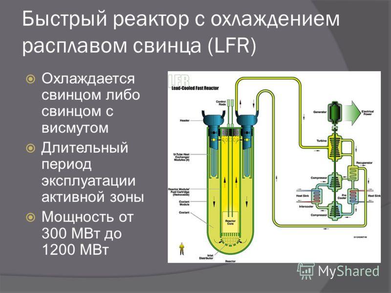 Быстрый реактор с охлаждением расплавом свинца (LFR) Охлаждается свинцом либо свинцом с висмутом Длительный период эксплуатации активной зоны Мощность от 300 МВт до 1200 МВт
