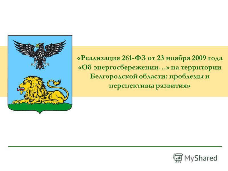 «Реализация 261-ФЗ от 23 ноября 2009 года «Об энергосбережении…» на территории Белгородской области: проблемы и перспективы развития»