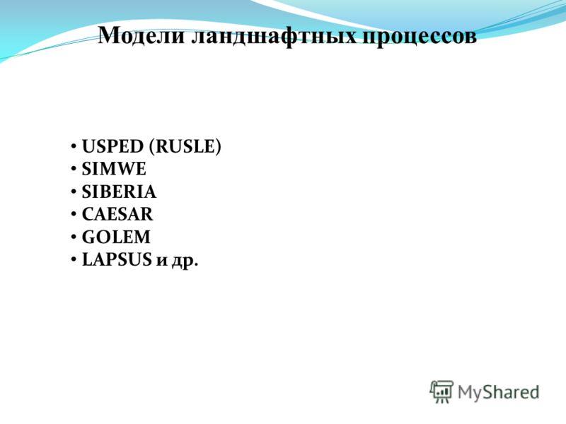 Модели ландшафтных процессов USPED (RUSLE) SIMWE SIBERIA CAESAR GOLEM LAPSUS и др.