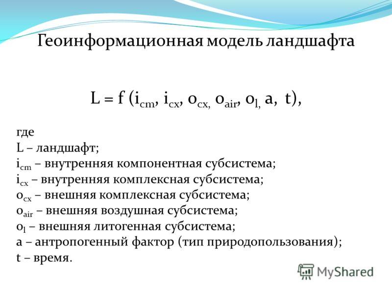 Геоинформационная модель ландшафта L = f (i cm, i cx, o cx, o air, o l, a, t), где L – ландшафт; i cm – внутренняя компонентная субсистема; i cx – внутренняя комплексная субсистема; o cx – внешняя комплексная субсистема; o air – внешняя воздушная суб