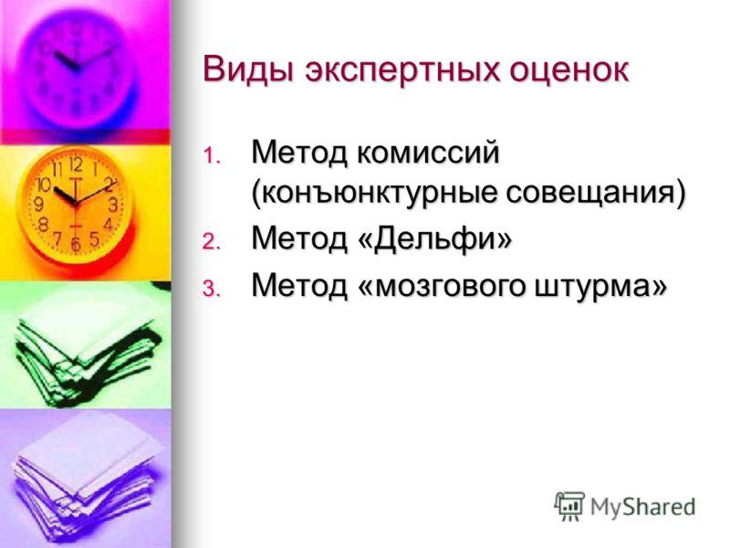 Виды экспертных оценок 1. Метод комиссий (конъюнктурные совещания) 2. Метод «Дельфи» 3. Метод «мозгового штурма»
