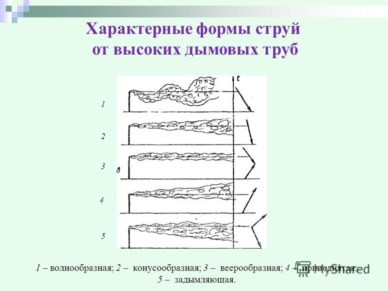 Характерные формы струй от высоких дымовых труб 1 2 3 4 5 1 – волнообразная; 2 – конусообразная; 3 – веерообразная; 4 – приподнятая; 5 – задымляющая.
