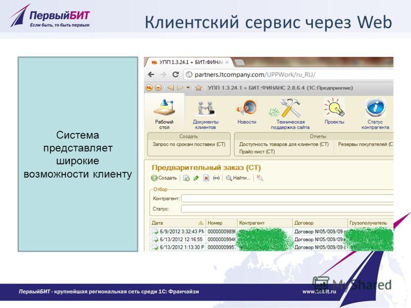 Клиентский сервис через Web Система представляет широкие возможности клиенту