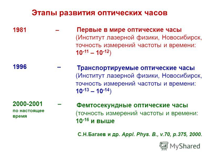 Этапы развития оптических часов Первые в мире оптические часы (Институт лазерной физики, Новосибирск, точность измерений частоты и времени: 10 -11 – 10 -12 ) Транспортируемые оптические часы (Институт лазерной физики, Новосибирск, точность измерений