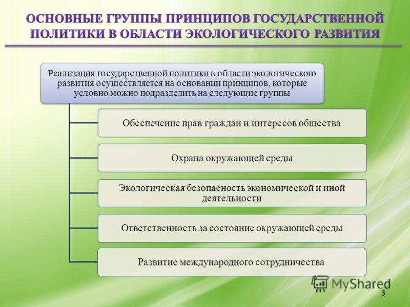 3 Реализация государственной политики в области экологического развития осуществляется на основании принципов, которые условно можно подразделить на следующие группы Обеспечение прав граждан и интересов обществаОхрана окружающей среды Экологическая б