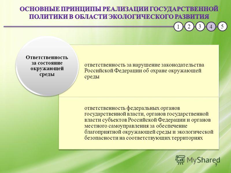 1 23 4 5 7 ответственность за нарушение законодательства Российской Федерации об охране окружающей среды ответственность федеральных органов государственной власти, органов государственной власти субъектов Российской Федерации и органов местного само