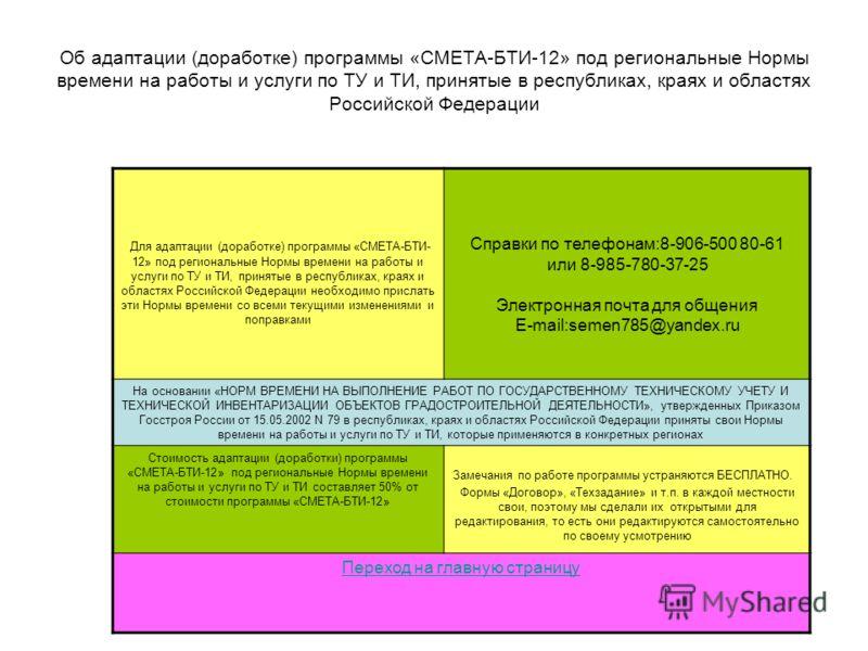 Об адаптации (доработке) программы «СМЕТА-БТИ-12» под региональные Нормы времени на работы и услуги по ТУ и ТИ, принятые в республиках, краях и областях Российской Федерации Для адаптации (доработке) программы «СМЕТА-БТИ- 12» под региональные Нормы в