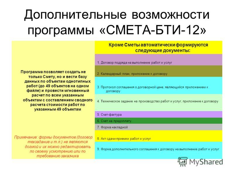 Дополнительные возможности программы «СМЕТА-БТИ-12» Программа позволяет создать не только Смету, но и вести базу данных по объектам однотипных работ (до 49 объектов на одном файле) и провести мгновенный расчет по всем указанным объектам с составление