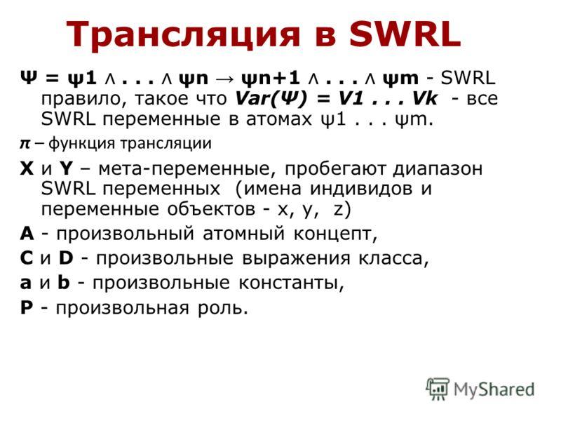 Трансляция в SWRL Ψ = ψ1... ψn ψn+1... ψm - SWRL правило, такое что Var(Ψ) = V1... Vk - все SWRL переменные в атомах ψ1... ψm. π – функция трансляции X и Y – мета-переменные, пробегают диапазон SWRL переменных (имена индивидов и переменные объектов -