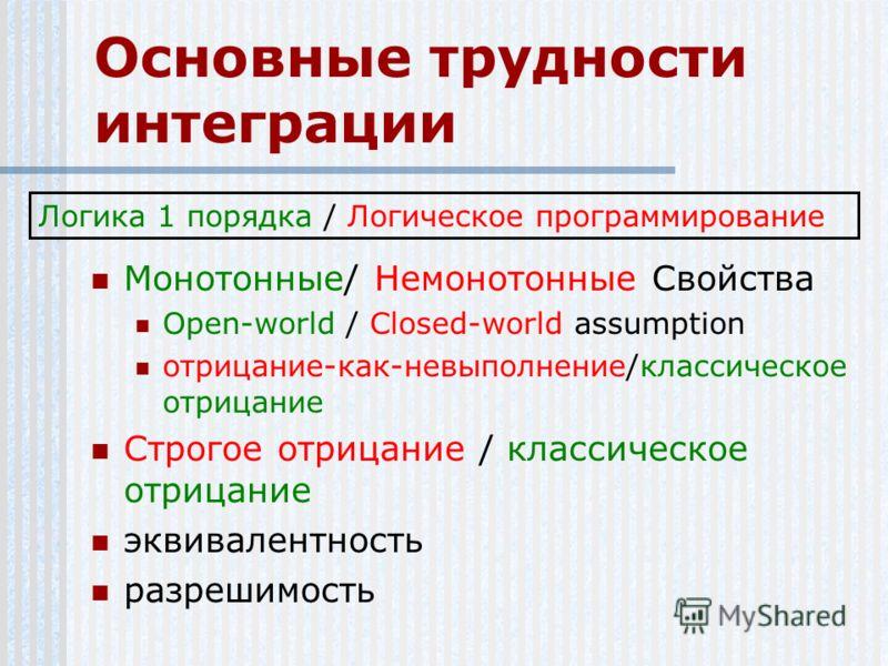 Основные трудности интеграции Монотонные/ Немонотонные Свойства Open-world / Closed-world assumption отрицание-как-невыполнение/классическое отрицание Строгое отрицание / классическое отрицание эквивалентность разрешимость Логика 1 порядка / Логическ
