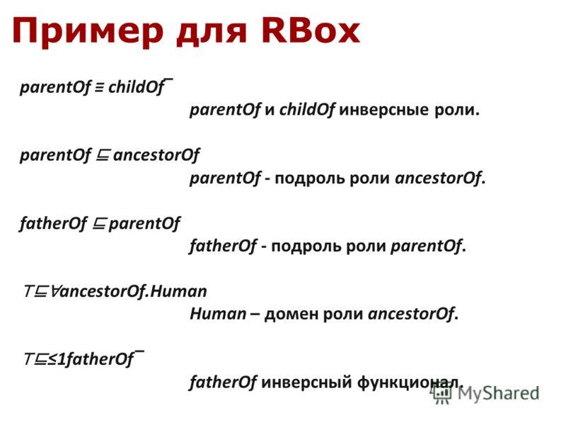 Пример для RBox parentOf childOf parentOf и childOf инверсные роли. parentOf ancestorOf parentOf - подроль роли ancestorOf. fatherOf parentOf fatherOf - подроль роли parentOf. ancestorOf.Human Human – домен роли ancestorOf. 1fatherOf fatherOf инверсн