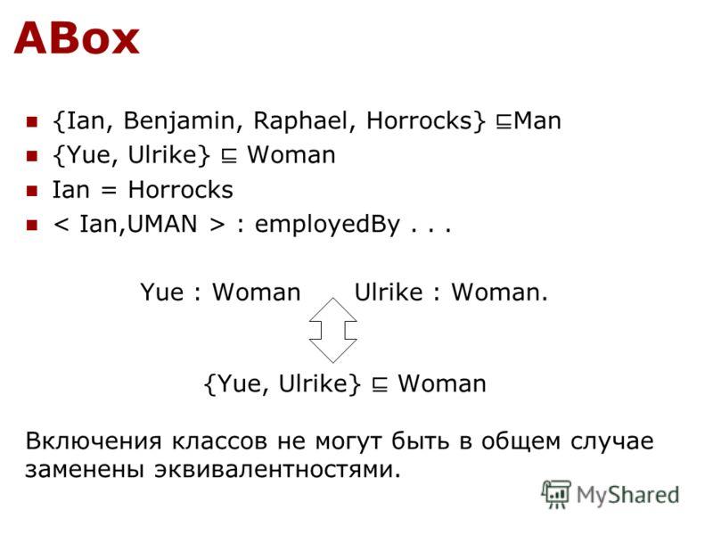 ABox {Ian, Benjamin, Raphael, Horrocks} Man {Yue, Ulrike} Woman Ian = Horrocks : employedBy... Yue : Woman Ulrike : Woman. {Yue, Ulrike} Woman Включения классов не могут быть в общем случае заменены эквивалентностями.