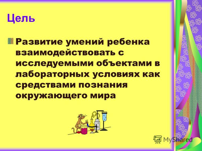 Цель Развитие умений ребенка взаимодействовать с исследуемыми объектами в лабораторных условиях как средствами познания окружающего мира