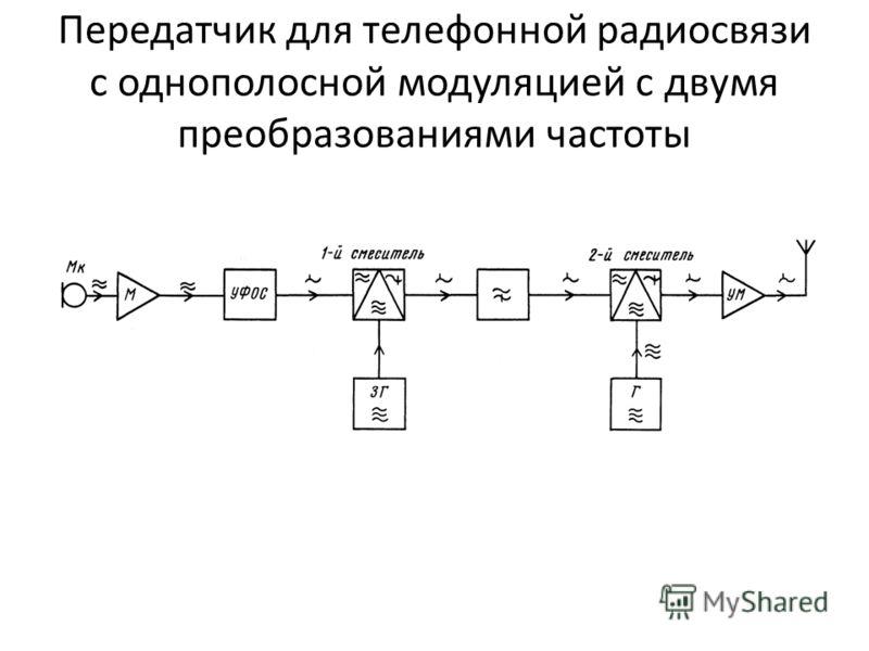 Передатчик для телефонной радиосвязи с однополосной модуляцией с двумя преобразованиями частоты фиксированных