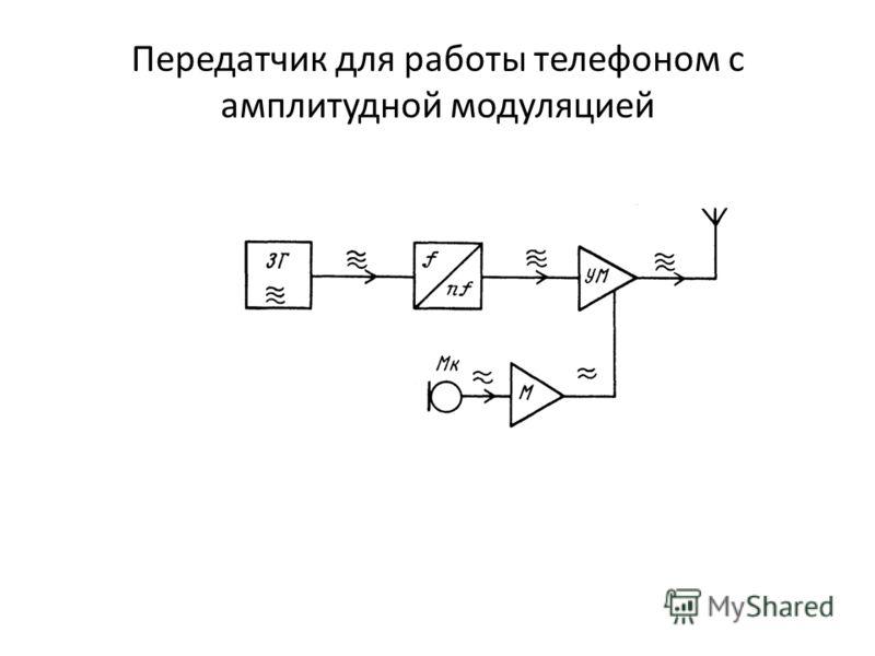 Передатчик для работы телефоном с амплитудной модуляцией включае