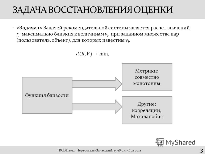 ЗАДАЧА ВОССТАНОВЛЕНИЯ ОЦЕНКИ Задачей рекомендательной системы является расчет значений r i, максимально близких к величинам v i, при заданном множестве пар (пользователь, объект), для которых известны v i. RCDL'2012 Переславль-Залесский, 15-18 октябр