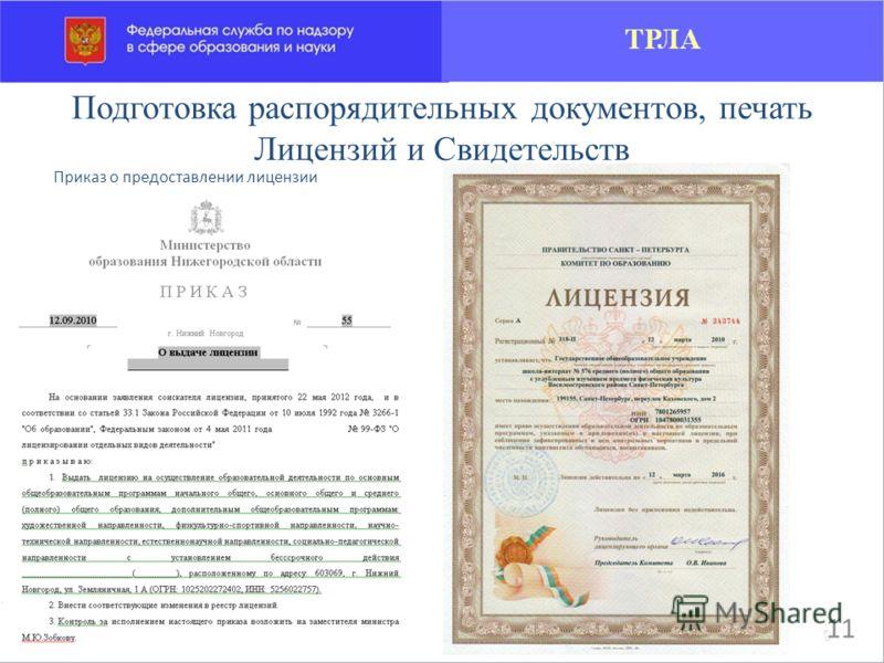 Приказ о предоставлении лицензии Подготовка распорядительных документов, печать Лицензий и Свидетельств 11