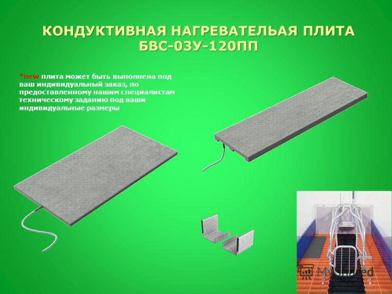 *new плита может быть выполнена под ваш индивидуальный заказ, по предоставленному нашим специалистам техническому заданию под ваши индивидуальные размеры КОНДУКТИВНАЯ НАГРЕВАТЕЛЬАЯ ПЛИТА БВС-03У-120ПП