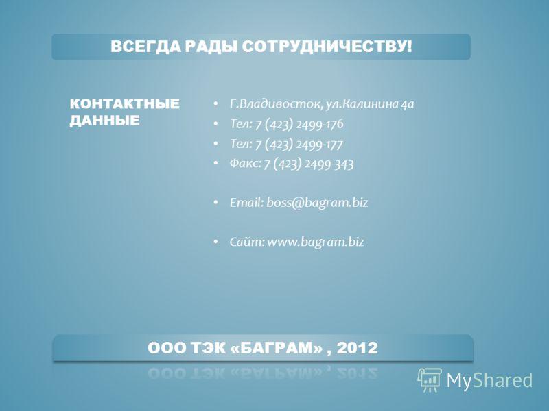 Г.Владивосток, ул.Калинина 4а Тел: 7 (423) 2499-176 Тел: 7 (423) 2499-177 Факс: 7 (423) 2499-343 Email: boss@bagram.biz Сайт: www.bagram.biz КОНТАКТНЫЕ ДАННЫЕ ВСЕГДА РАДЫ СОТРУДНИЧЕСТВУ!
