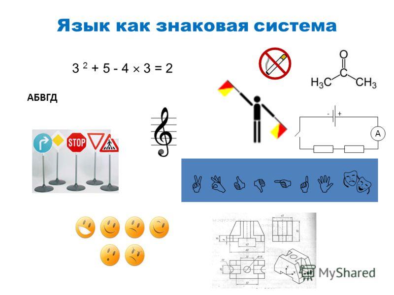 Язык как знаковая система A +- АБВГД 3 2 + 5 - 4 3 = 2