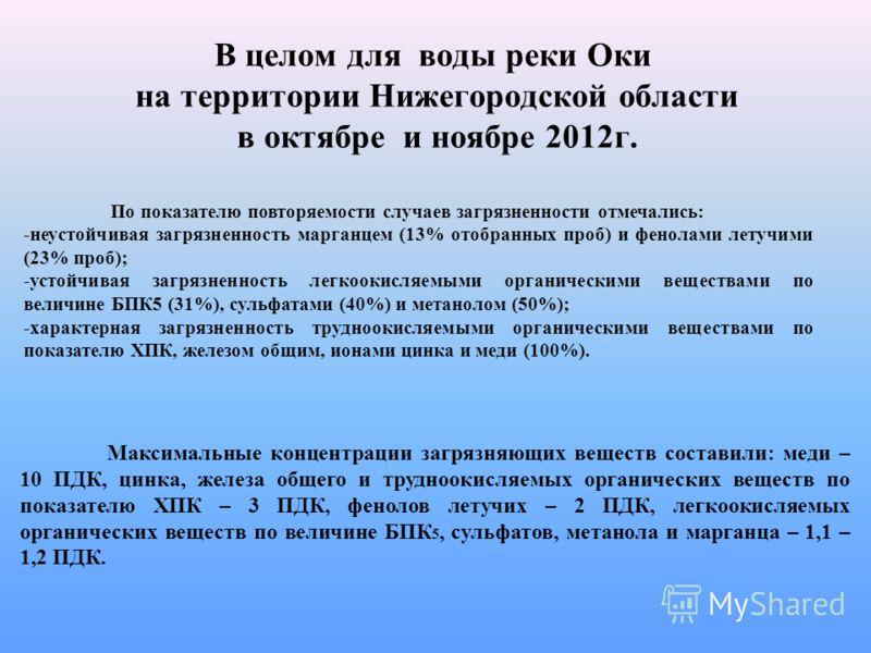 В целом для воды реки Оки на территории Нижегородской области в октябре и ноябре 2012г. Максимальные концентрации загрязняющих веществ составили: меди – 10 ПДК, цинка, железа общего и трудноокисляемых органических веществ по показателю ХПК – 3 ПДК, ф