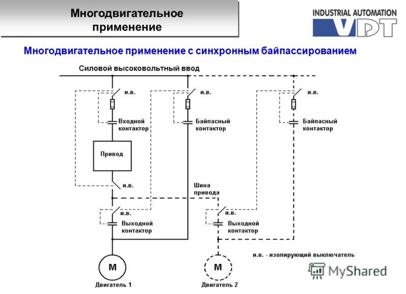 Многодвигательное применение с синхронным байпассированием Многодвигательное применение