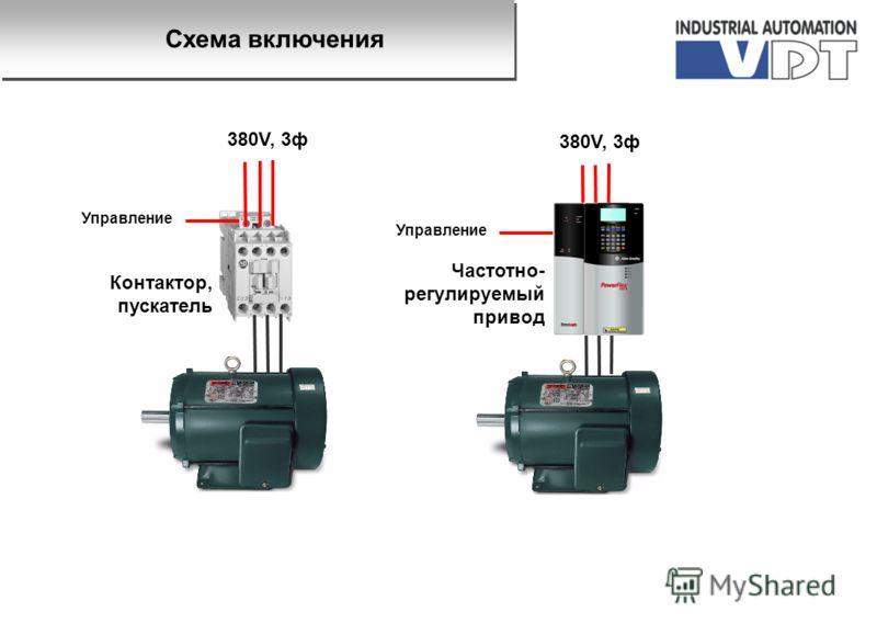 380V, 3ф Контактор, пускатель Частотно- регулируемый привод Управление Схема включения