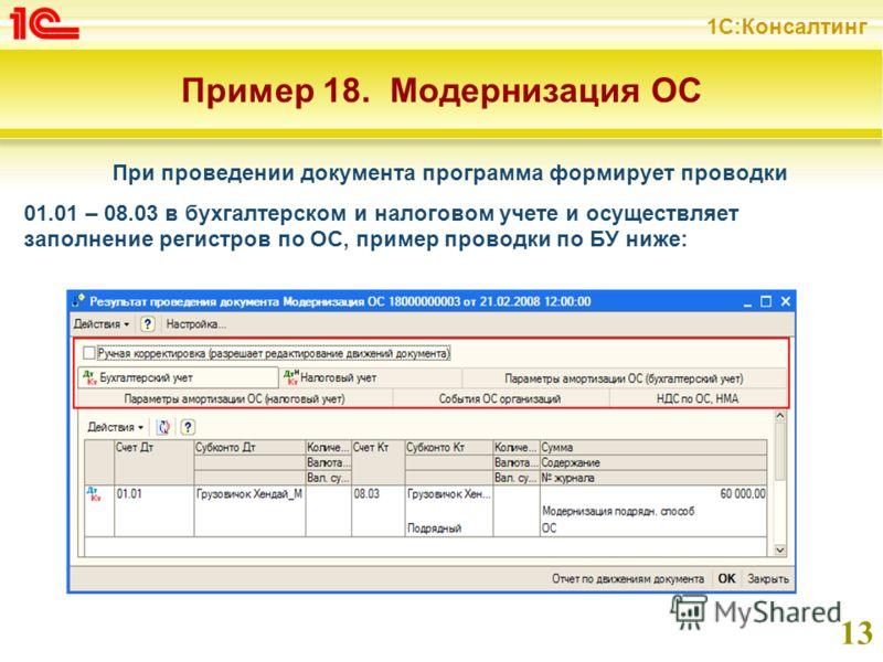 1С:Консалтинг 13 Пример 18. Модернизация ОС При проведении документа программа формирует проводки 01.01 – 08.03 в бухгалтерском и налоговом учете и осуществляет заполнение регистров по ОС, пример проводки по БУ ниже: