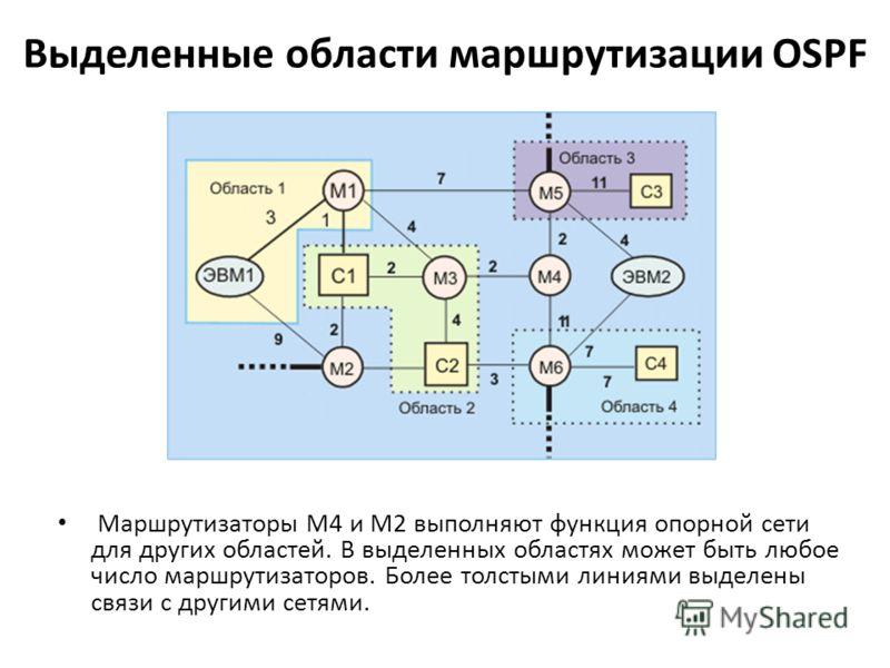Выделенные области маршрутизации OSPF Маршрутизаторы М4 и М2 выполняют функция опорной сети для других областей. В выделенных областях может быть любое число маршрутизаторов. Более толстыми линиями выделены связи с другими сетями.