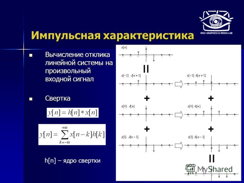 Импульсная характеристика Вычисление отклика линейной системы на произвольный входной сигнал Вычисление отклика линейной системы на произвольный входной сигнал Свертка Свертка h[n] – ядро свертки