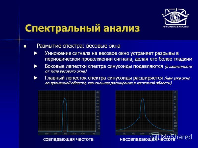 Спектральный анализ Размытие спектра: весовые окна Размытие спектра: весовые окна Умножение сигнала на весовое окно устраняет разрывы в периодическом продолжении сигнала, делая его более гладким Умножение сигнала на весовое окно устраняет разрывы в п