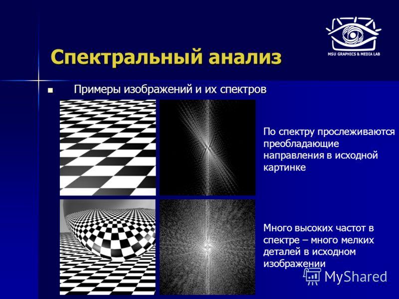 Спектральный анализ Примеры изображений и их спектров Примеры изображений и их спектров По спектру прослеживаются преобладающие направления в исходной картинке Много высоких частот в спектре – много мелких деталей в исходном изображении