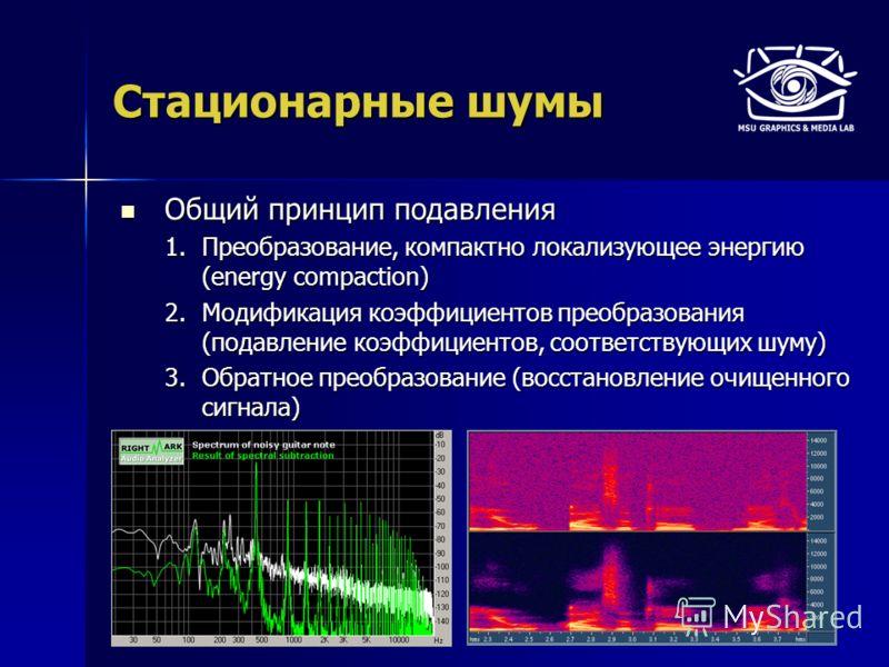 Стационарные шумы Общий принцип подавления Общий принцип подавления 1.Преобразование, компактно локализующее энергию (energy compaction) 2.Модификация коэффициентов преобразования (подавление коэффициентов, соответствующих шуму) 3.Обратное преобразов