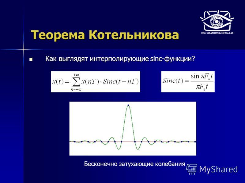 Теорема Котельникова Как выглядят интерполирующие sinc-функции? Как выглядят интерполирующие sinc-функции? Бесконечно затухающие колебания
