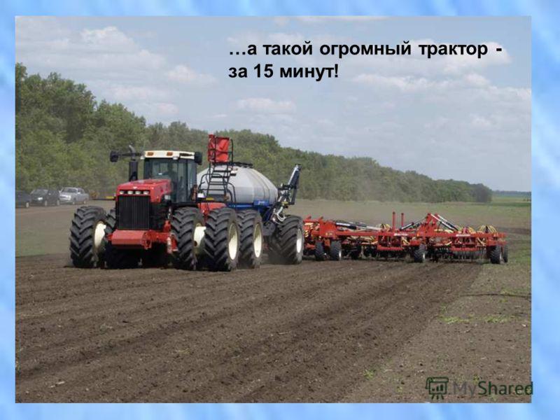 10-12 часов понадобится лошади, чтобы вспахать 1 га земли… …трактор эту же работу выполняет за 40-50 минут! …а такой огромный трактор - за 15 минут!